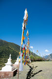 Tibetan Plateau flags. In the square flags plateau Temple Royalty Free Stock Photography