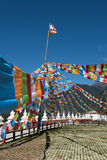Tibetan Plateau flags. In the square flags plateau Temple Stock Image