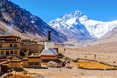 Free Tibetan Plateau Scene-Everest And Flannelette(Rongbu) Temple Royalty Free Stock Images - 36568869