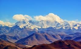 Tibetan plateau scene-Overlook Cho Oyo Royalty Free Stock Photo