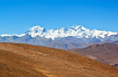 Tibetan plateau scene-Overlook Cho Oyo stock photo