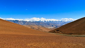 Tibetan Plateau Scene-Overlook Makalu-Lhotse-Evere St-Cho Oyu Stock Image