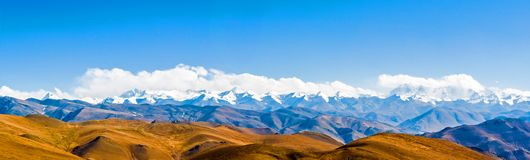 Tibetan plateau scene-Overlook Makalu-Lhotse-Evere st-Cho Oyu Royalty Free Stock Photography
