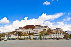 Tibetan plateau scene-Potala Palace and prayer Pagodas Royalty Free Stock Images