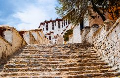 Tibetan plateau scene-The stairs go to sacred Potala Palace Stock Photo