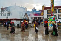 Tibetan plateau scene-Jokhang Temple and prayers royalty free stock images