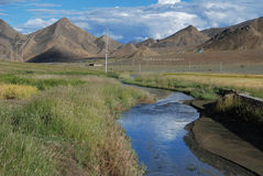 Tibetan platteland Stock Foto's