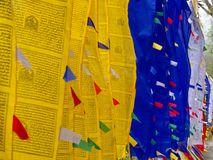 Tibetan Prayer Flag for Faith, peace, wisdom, compassion, and st. Rength, Sikkim State in India, 15th April, 2013 Royalty Free Stock Image