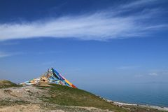 Tibetan prayer flags. In Qinghai Lake Royalty Free Stock Images