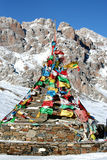 Tibetan prayer flags. On a mountain pass in Sichuan, China Royalty Free Stock Images