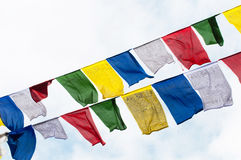 Tibetan prayer flags in the mountains Royalty Free Stock Images