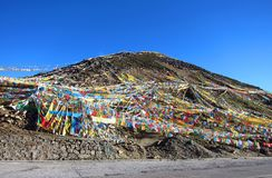 Tibetan prayer flags at Sejila Mountain Pass Royalty Free Stock Photography