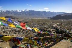 Tibetan prayer flags at Shey Palace, Ladakh, India Royalty Free Stock Images