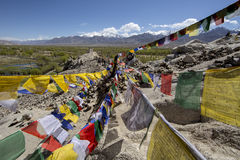 Tibetan prayer flags at Shey Palace, Leh-Ladakh, India Stock Photography