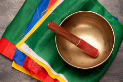 Tibetan prayer flags and singing bowl Royalty Free Stock Images