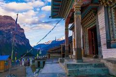 Tibetan Prayer Monastery Buddhists Village.Himalaya Mountains. Horizontal Photo. Nobody Image. Hikking Sport Activity. Royalty Free Stock Photos