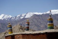 Tibetan prayer scenery Himalaya Range background , Leh-Ladakh Stock Photography