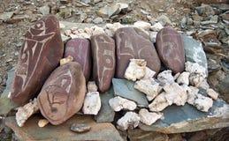 Tibetan prayer stones Stock Image