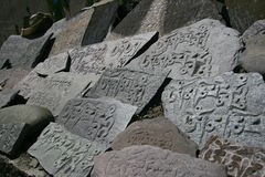 Tibetan prayer stones Royalty Free Stock Images
