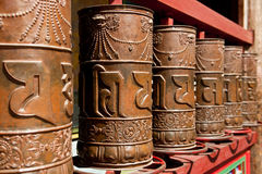 Tibetan prayer wheel. At the famous Kumbum Monastery in Qinghai Province, China Royalty Free Stock Photo