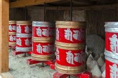 Tibetan prayer wheel. Inside monastery, Gompa Chemdai, India Royalty Free Stock Photography