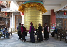 Tibetan Prayer Wheel Turning Stock Photography