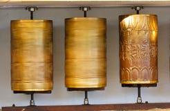Tibetan prayer wheels. In Dharamsala, Himachal Pradesh, India royalty free stock photo