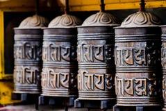 Tibetan prayer wheels in Ladakh. Tibetan prayer wheels, found in many Buddhist temples at the Indian state of Ladakh royalty free stock photography
