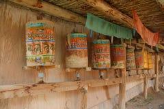 Tibetan prayer wheels. Qinghai, China Royalty Free Stock Photo