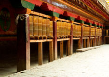 Tibetan prayer wheels in songzanlin monastery Royalty Free Stock Photos