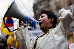 Tibetan protest. Demonstration of the Tibetans in Paris, March 10th, 2012 Stock Image