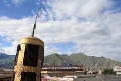 Tibetan Religious Symbol overlooking Lhasa Stock Images