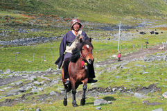 A tibetan rider Royalty Free Stock Images