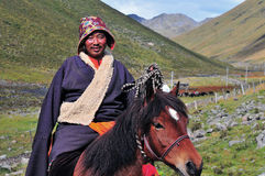A tibetan rider. At Tibet Plateau Royalty Free Stock Photos
