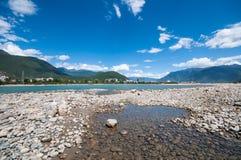 Tibetan river. Niyang river on tibetan plateau ,China Stock Photo