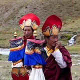 Tibetan rnying-ma-pa monks Royalty Free Stock Images