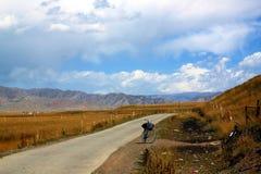 Tibetan road. Tibetan Plateau Landscape in autumn, China Royalty Free Stock Image