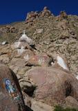 Tibetan  rock paintings. Buddhist  rock paintings  near  Lhasa,Tibet Stock Images