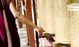 Tibetan  rotating prayer wheel Stock Photography