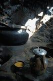 Tibetan salt tea. Pukhtal monastry, Zanskar valley, Ladakh, India Royalty Free Stock Images