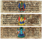 Tibetan Sanskrit Prayer Tablets Stock Photos