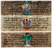 Tibetan Sanskrit Prayer Tablets. Tibetan Sanskrit Grunge Prayer Tablets stock photography