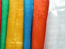 Tibetan scarfs (khata). Colourful Tibetan khata royalty free stock photos