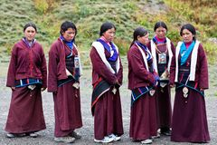 Tibetan shoolgirls Royalty Free Stock Images