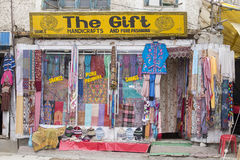 Tibetan shop clothes and souvenirs. Leh, Ladakh, India Royalty Free Stock Photo