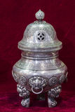 Tibetan silver incense burner by hand Stock Image