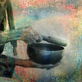Tibetan Singing Bowl. Old mystical hands ringing a Tibetan singing bowl. Photo based illustration Stock Image