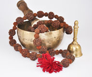 Tibetan Singing Bowl with beads and bells royalty free stock image
