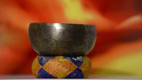 Tibetan Singing bowl stock video footage
