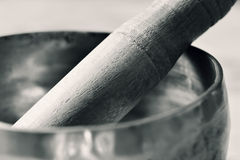 Tibetan singing bowl in duotone Stock Photo